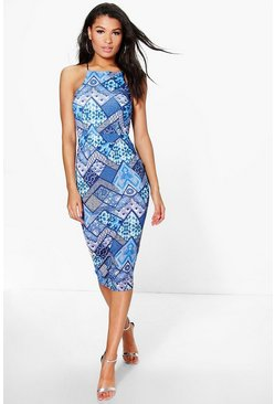 Tamara Strappy Square Neck Printed Midi Dress