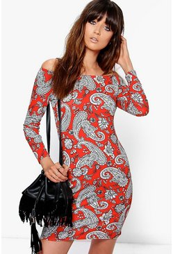 Pia Paisley Off Shoulder Long Sleeve Bodycon Dress