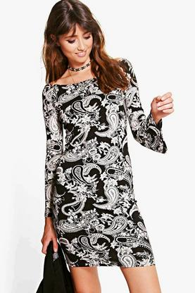 Willa Mono Paisley Flared Sleeve Bodycon Dress