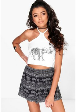 Eva Elephant Graphic Halter Crop
