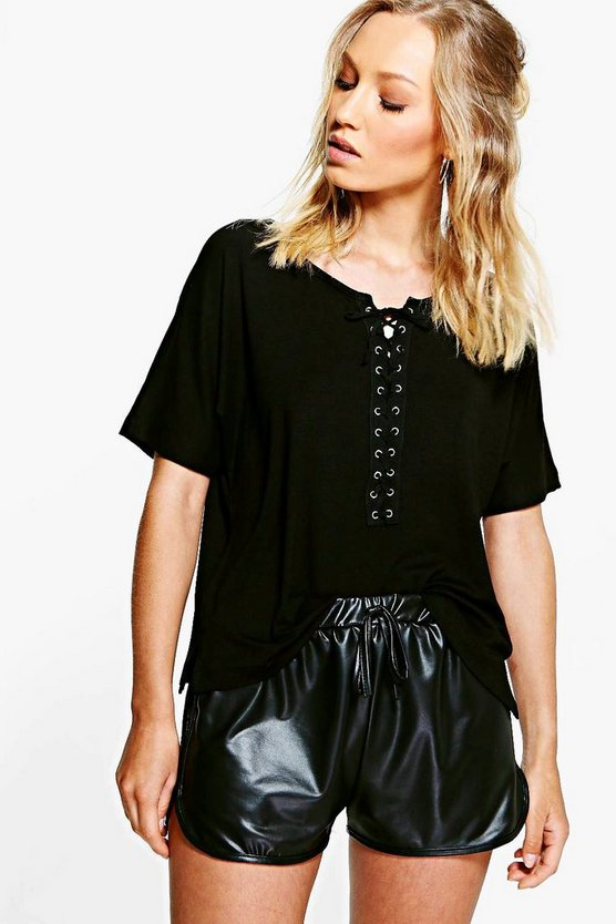 Lola Lace Up Boxy Short Sleeve Tee