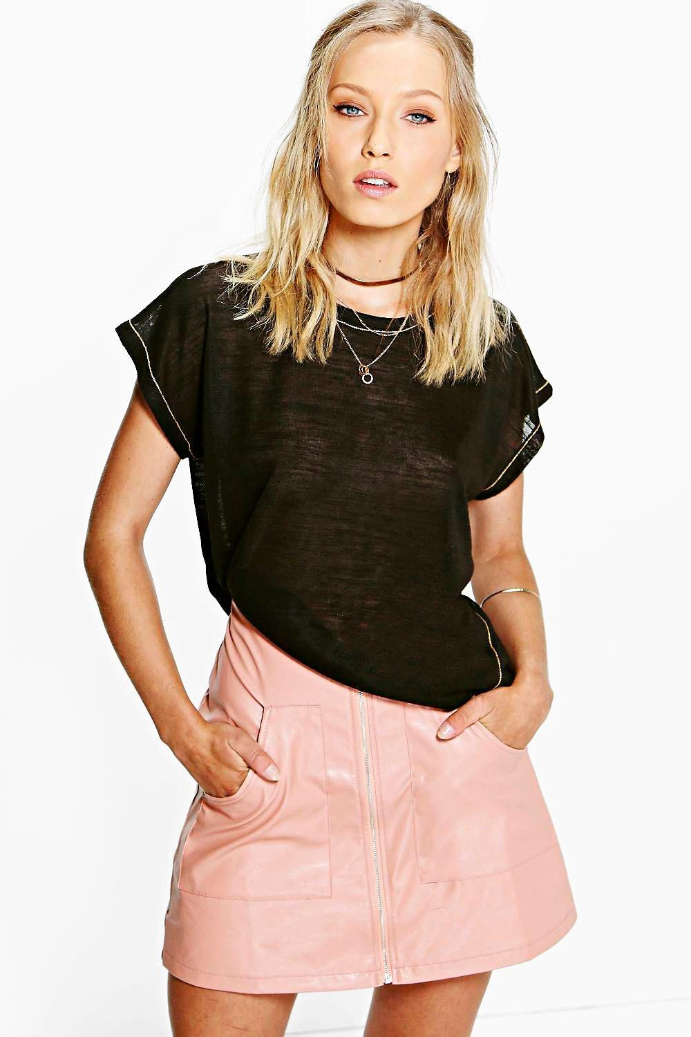 Lacey Premium Contrast Stitch Oversized Tee