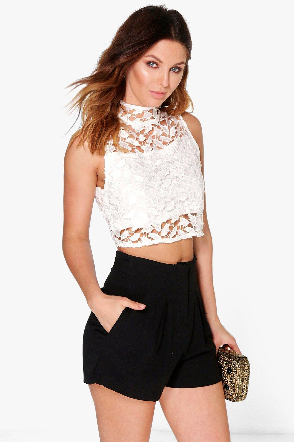Boohoo womens layla boutique crochet lace crop top ebay for Boutique tops