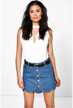 Ella Scalloped Hem Denim Button Through Skirt