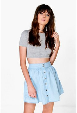 Olivia Button Through Skater Denim Skirt