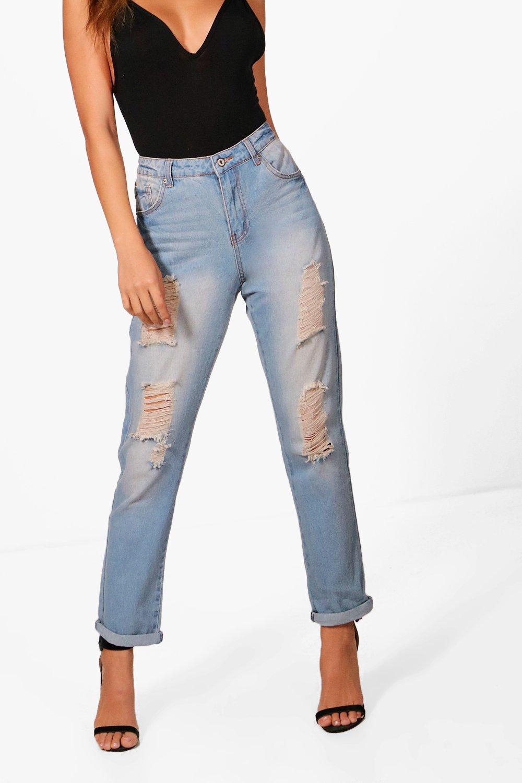 Raw Hem Boyfriend Denim Jeans blue