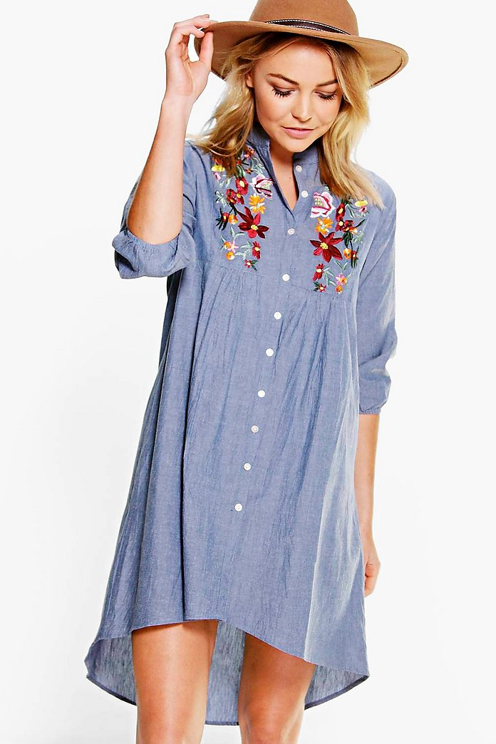 Ana Embroidered Denim Shirt Dress