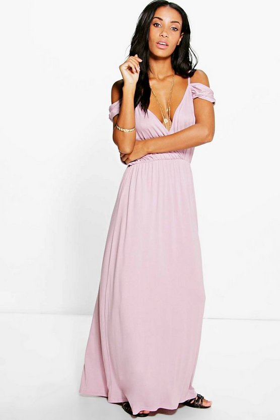 Grace Cold Shoulder Rouched Maxi Dress