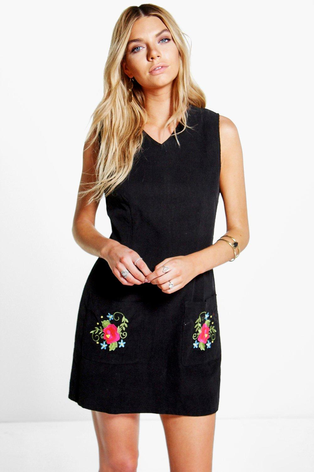 Cord Embroidered Pinafore Dress black