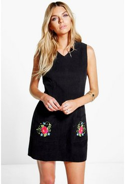 Polina Cord Embroidered Pinafore Dress