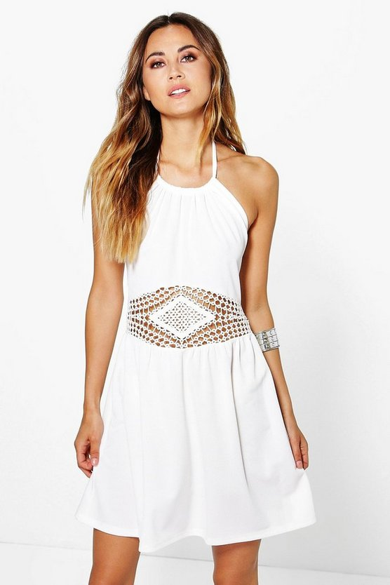 Cara Crochet Insert Mini Halterneck Neck Dress