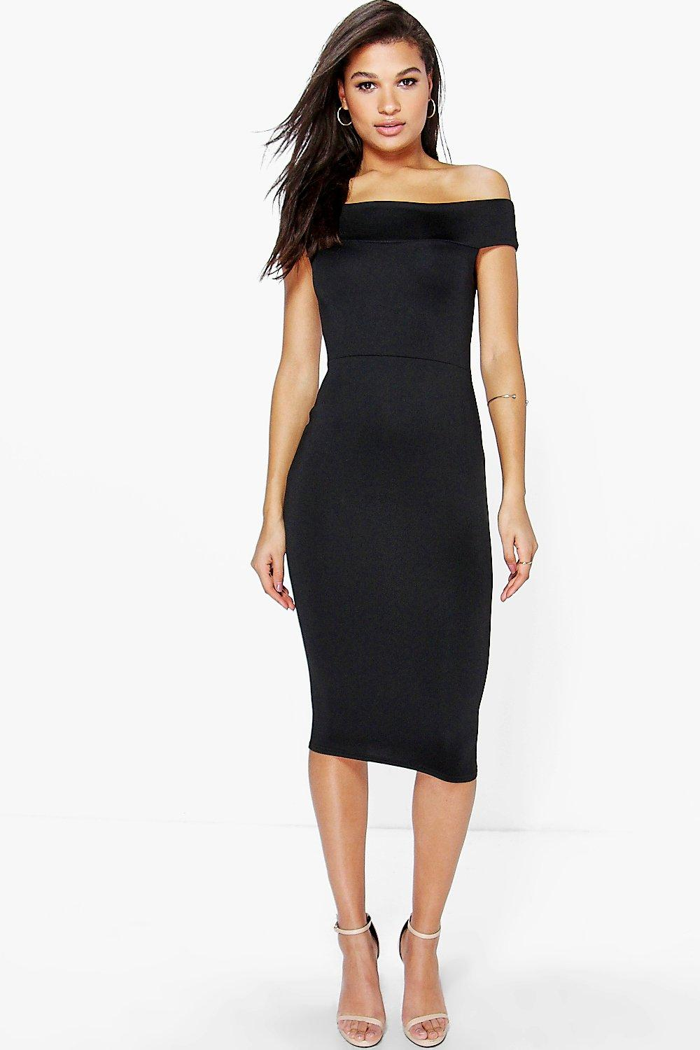 Tamsin Off The Shoulder Midi Bodycon Dress - black