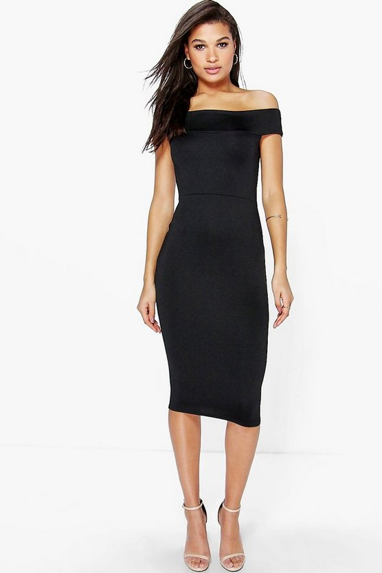 Ella Tamsin Off The Shoulder Midi Bodycon Dress