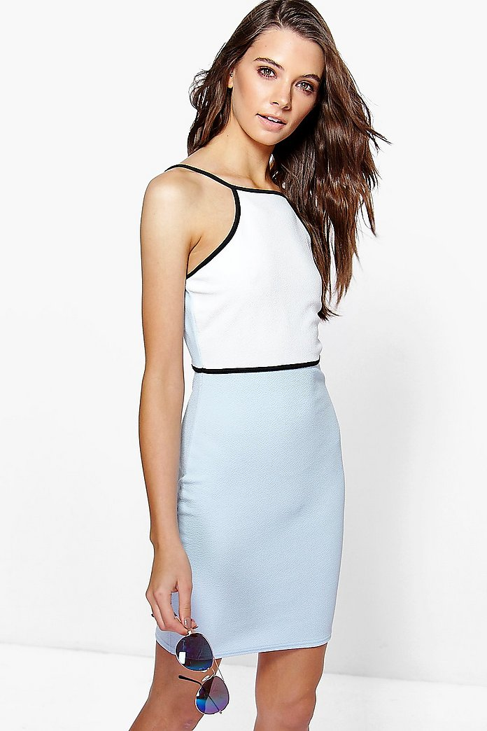 Olga Strappy Contrast Colour Block Bodycon Dress