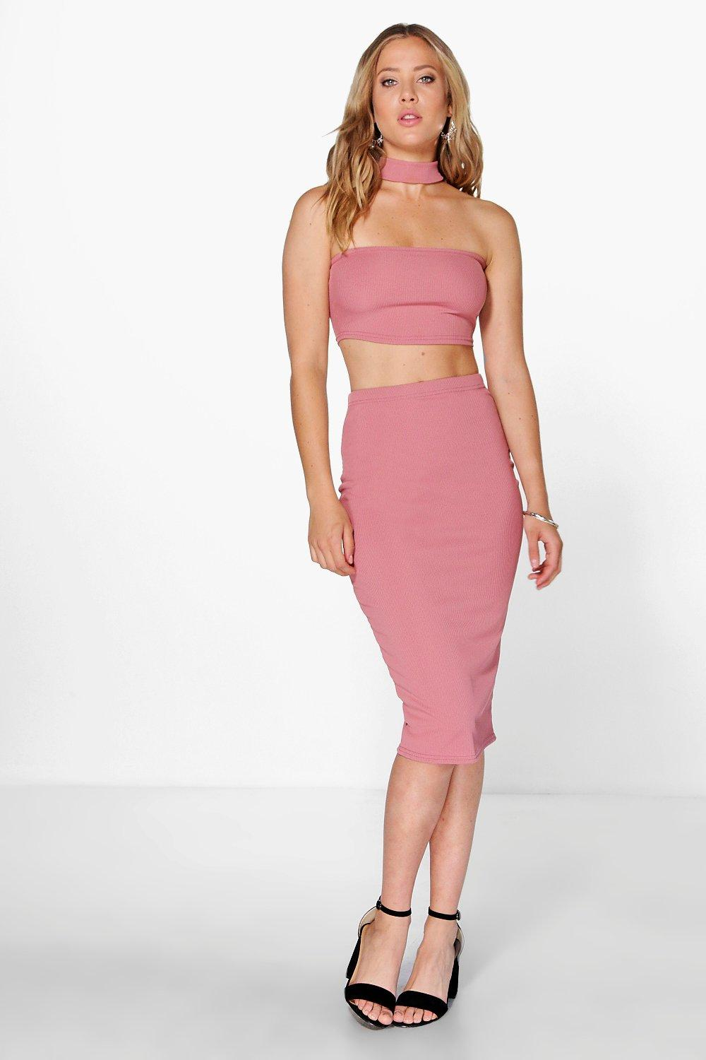 Gigi Ribbed Neck Band Midi Skirt Co-Ord Set