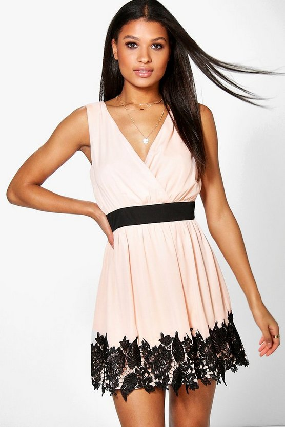 Ciara Chiffon Wrap Crochet Hem Skater Dress