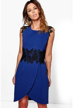 Carmel Crochet Lace Sleeve Wrap Midi Dress
