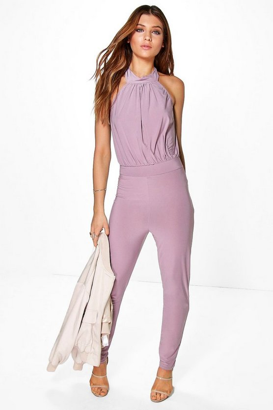 Emily Slinky High Neck Skinny Leg Jumpsuit
