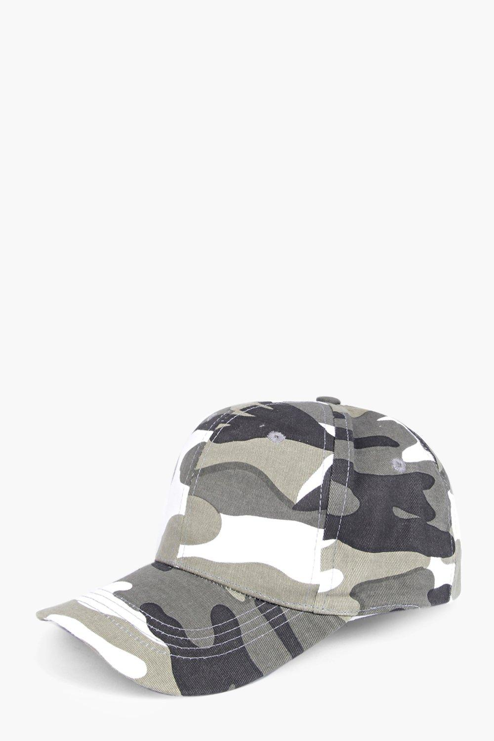 Grace Camo Print Fitted Baseball Cap