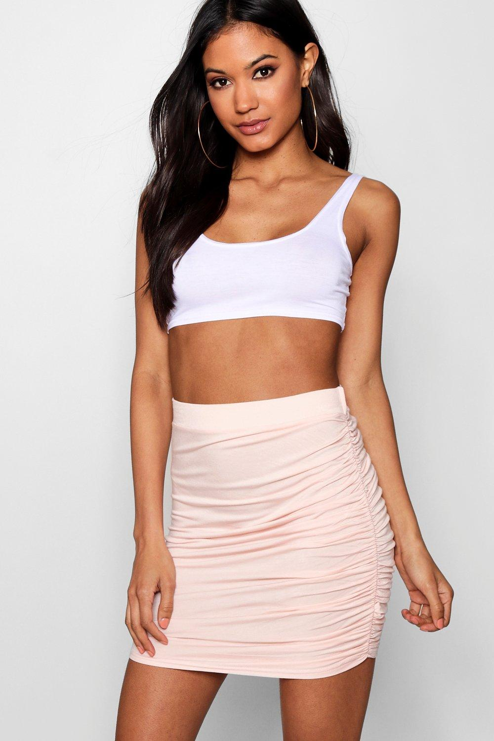Rouched Side Mini Skirt blush