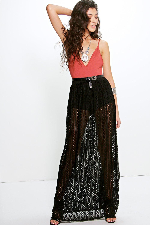 millie festival crochet lace maxi skirt at boohoo