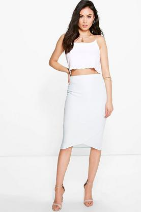 Theo Curved Hem Ribbed Midi Skirt
