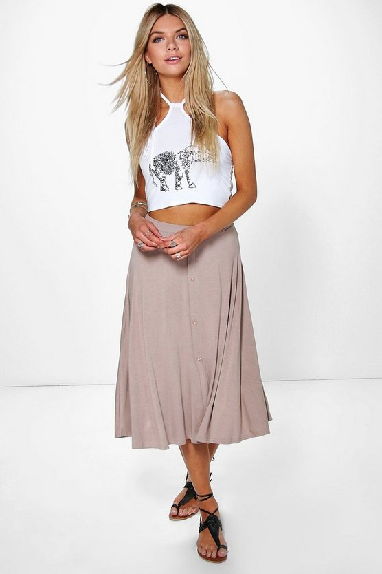 Eva Button Front Jersey Skater Skirt