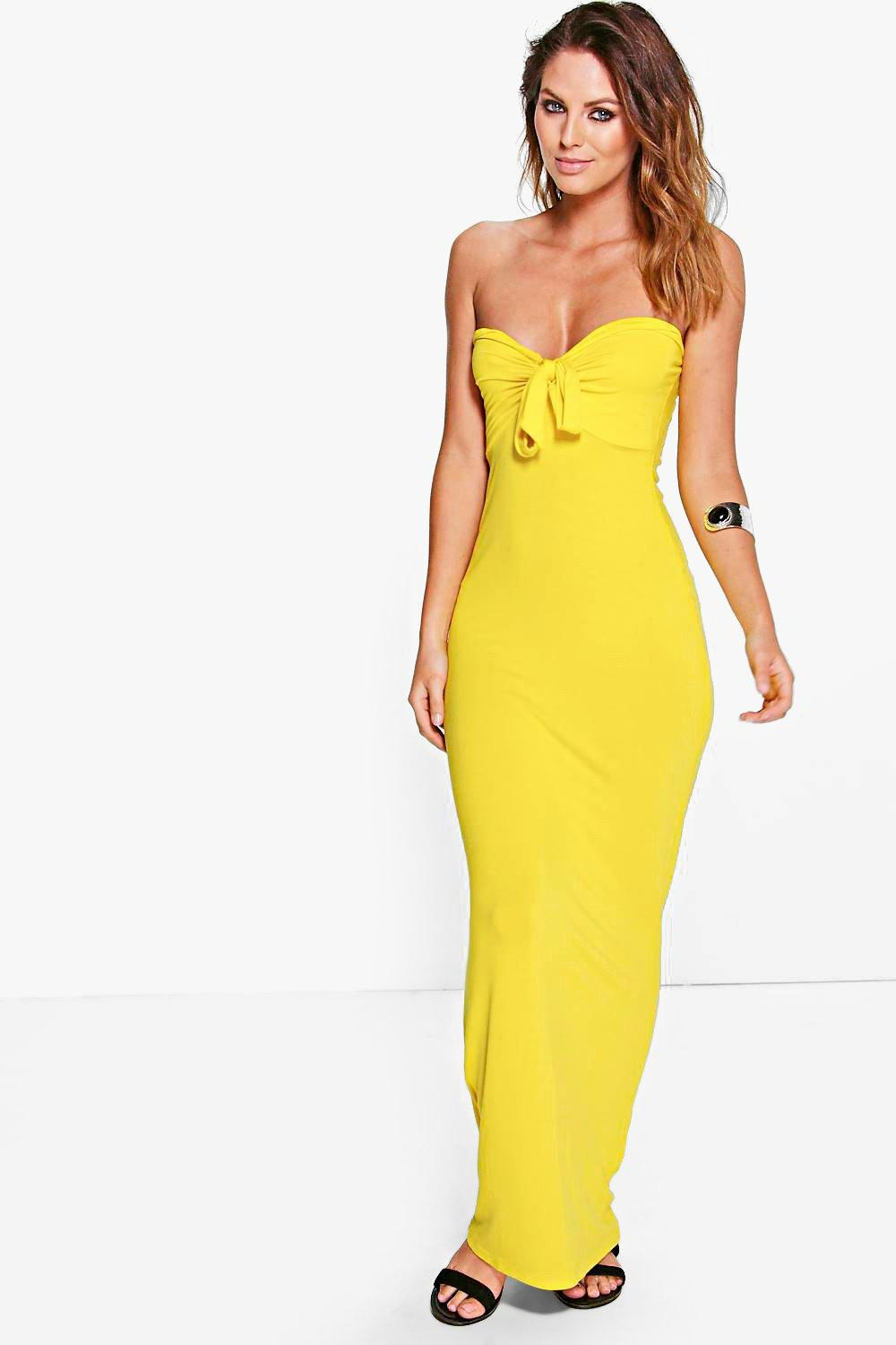 Bandeau Bow Maxi Dress yellow