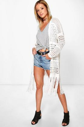 Paige Long Crochet Tassel Cardigan