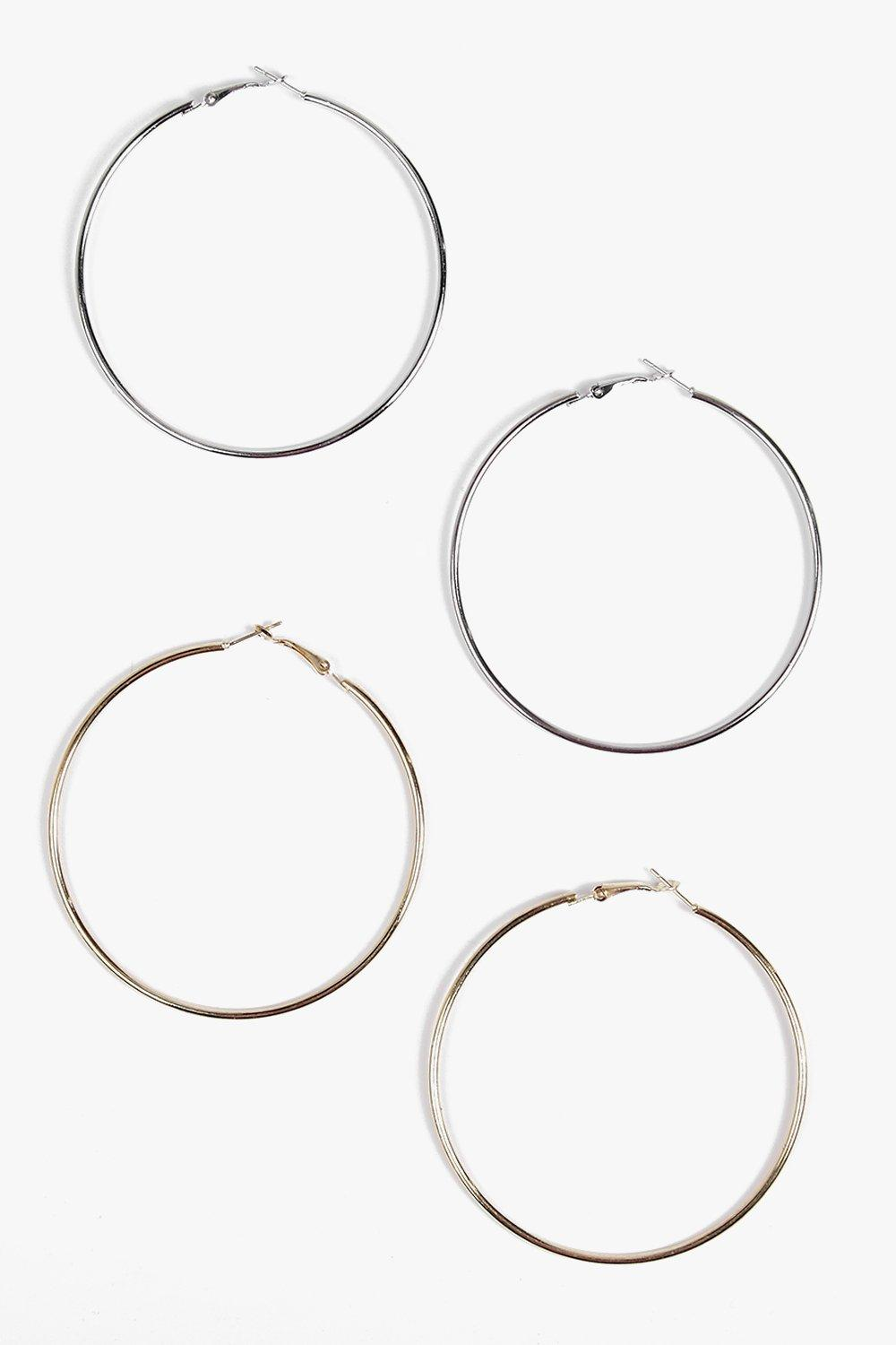 Ava 7cm 2 Pack Gold And Silver Hoop Earrings