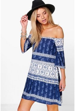 Bernarda Off Shoulder Boho Print Swing Dress