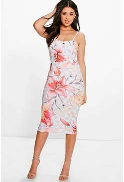 Audrianna Strappy Geo Floral Midi Dress