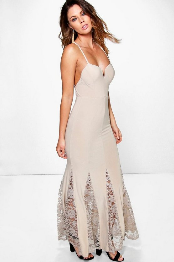 Esme Slinky Plunge Neck Lace Hem Insert Maxi Dress