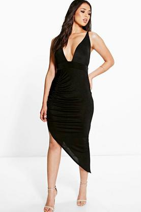 Rezy Ruched Side Asymmetric Hem Slinky Midi Dress