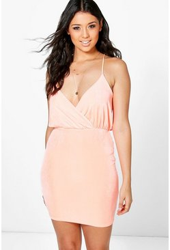 Stassie Drape Wrap Front Strappy Bodycon Dress