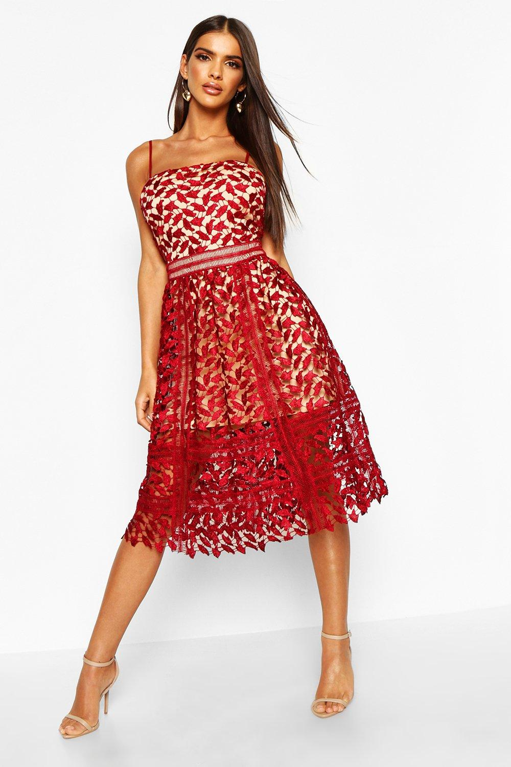 Corded Lace Detail Midi Skater Dress - berry