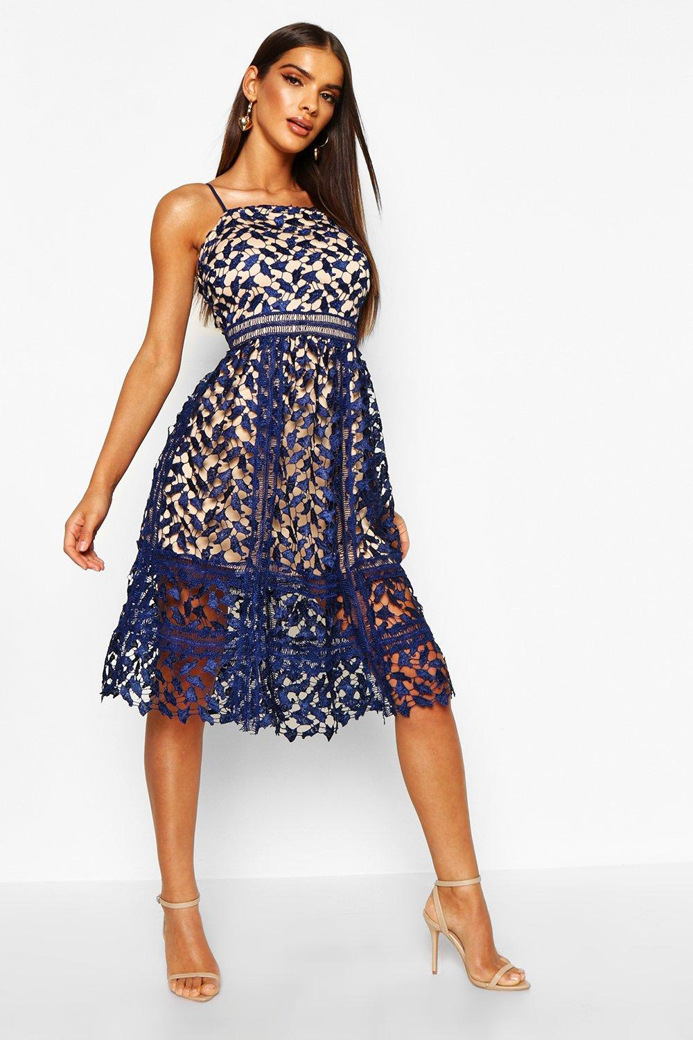 Harlow corded lace detail midi skater dress at for Boohoo dresses for weddings