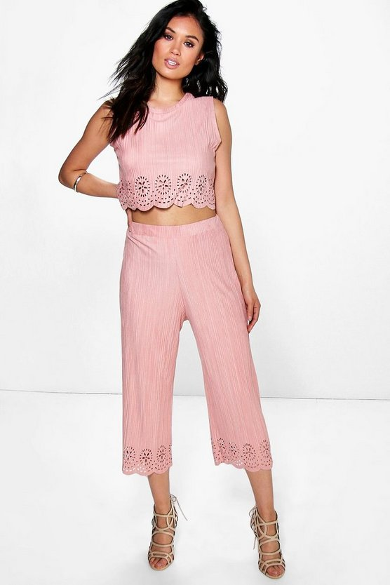 Boutique Ani Pleated Suedette Lazer Cut Co-Ord Set