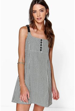 Sophia Button Detail Stripe Pinafore Dress