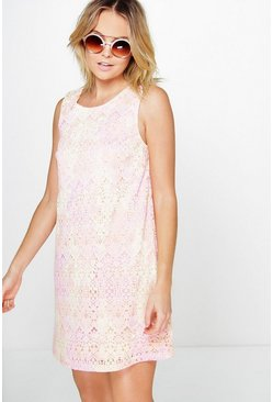 Angelina Pastel Lace Shift Dress