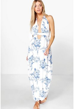 Cara Printed Oriental Floral Maxi Dress