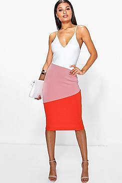 Pernille Strappy Colour Block Detail Midi Dress