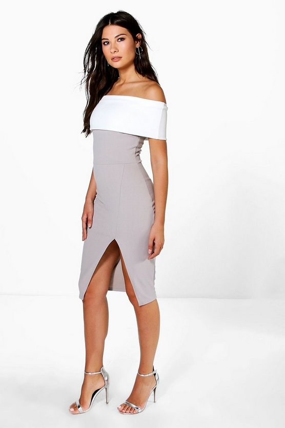 Elin Contrast Off The Shoulder Midi Bodycon Dress