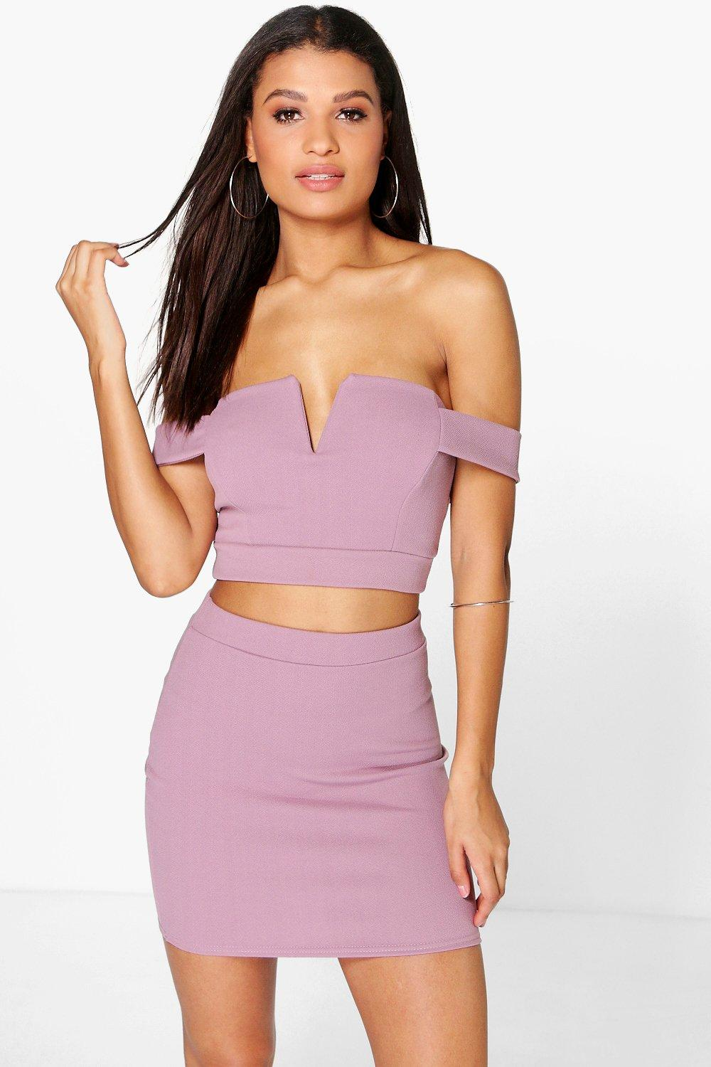 Amra Off The Shoulder Top & Mini Skirt Co-Ord Set