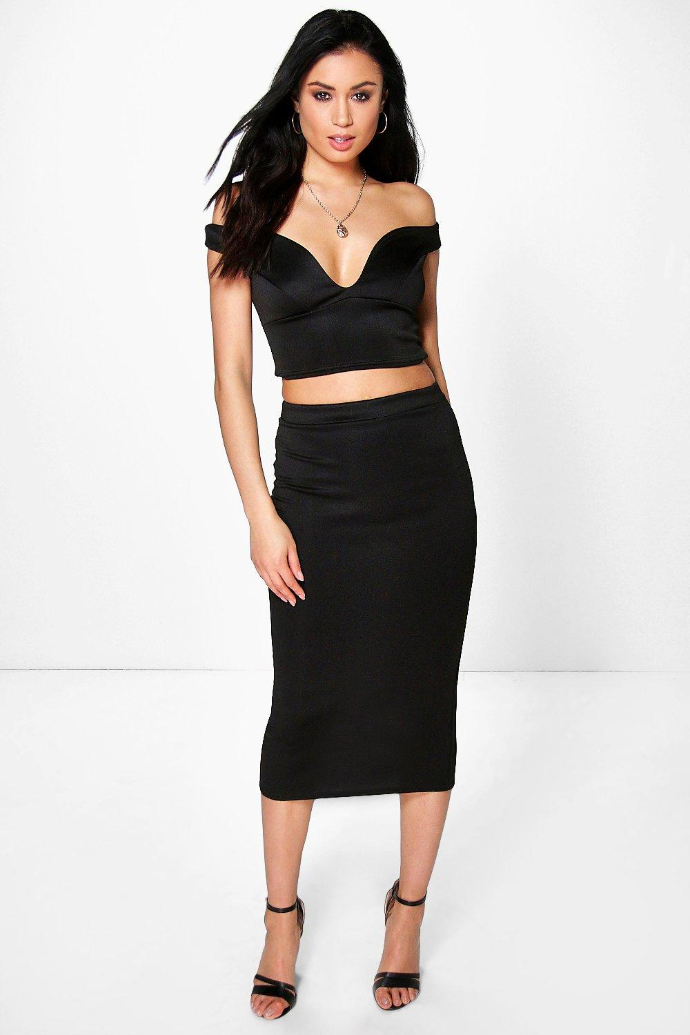 Shay Off The Shoulder Top & Midi Skirt Co-Ord Set