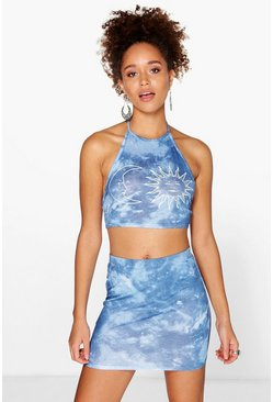Willow Sun & Moon Tie Dye Mini Skirt Co-Ord Set