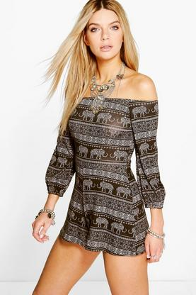 Jonna Elephant Print Off The Shoulder Playsuit