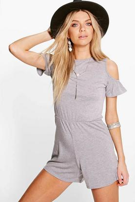 Jenny Open Ruffle Shoulder Playsuit