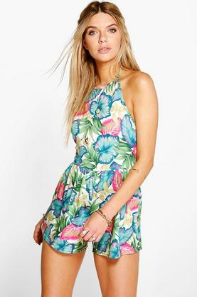 Ava Palm Print High Neck Playsuit