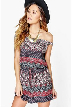 Zoe Off The Shoulder Printed Playsuit